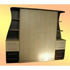 Кровать-шкаф с прикроватными тумбами и полками